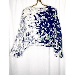 Anthropologie graffiti bell sleeve top